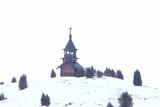 cemetery winter cross / concept loneliness sorrow, cross in winter landscape - 225303226