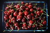 plate with cherry background / beautiful bright background fresh cherry cherries, juicy fruit - 225303228