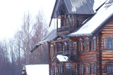 wooden houses in the Russian countryside / wooden architecture, Russian provincial landscape, winter view village in Russia - 225303232