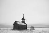 landscape in russian kizhi church winter view / winter season snowfall in landscape with church architecture - 225303253