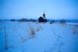 landscape in russian kizhi church winter view / winter season snowfall in landscape with church architecture - 225303261