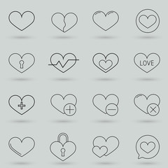 Premium set of heart line icons. Simple pictograms pack. Outline vector illustration on a gray background.