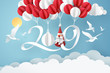 Paper art of 2019 hang with balloon in the sky, happy new year celebration concept