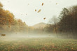 autumn landscape background with leaves falling in the wind