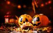 Leinwanddruck Bild - Halloween festive composition with sweet corn in bowl and smiling pumpkins guards, lantern, straw and fallen leaves on dark wooden background, rustic style, selective focus