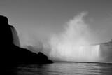niagara falls black and white