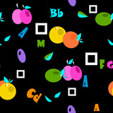 Seamless cartoon fruits and alphabet on black