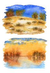 Collection of autumn landscape sketches. Fall. Watercolor illustrations. © Aleksey Ignatenko