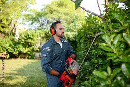 Leinwanddruck Bild handsome young man gardener trimming hedgerow in a garden park outdoor
