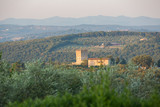 Typical Tuscan house and square tower amid the rolling hills; Tuscany Italy