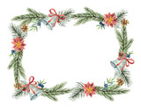 Watercolor vector Christmas wreath with fir branches and place for text. - 225328829