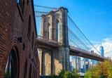 Brooklyn Bridge in sunny day taken from Brooklyn Bridge Park,  New York City, United States. - 225331856