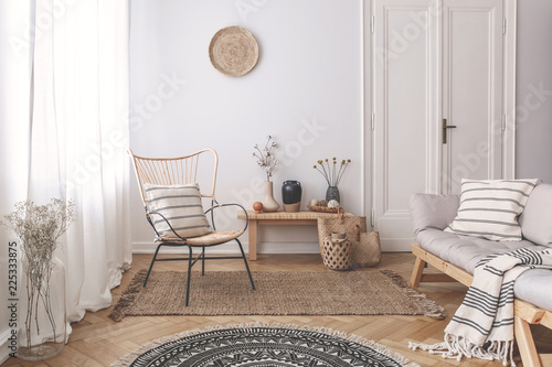 Armchair and sofa with patterned pillows in white flat interior with plants and round rug. Real photo - 225333875