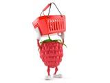 Raspberry character holding empty shopping basket