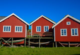 Red lofoten houses in a typical village, Norway.
