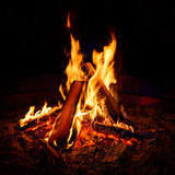 Camp fire at night - 225339043