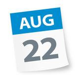 August 22 - Calendar Icon - 225339430