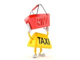 Taxi character holding empty shopping basket - 225342244