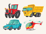 Funny cute hand drawn cartoon vehicles. Baby bright cartoon helicopter, big truck, car, and tractor. Transport child items vector illustration on light background.