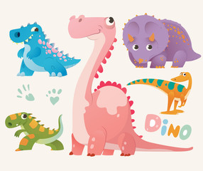 Collection of cute dino. Set 1 of colorful dinosaurios. Vector illustration.