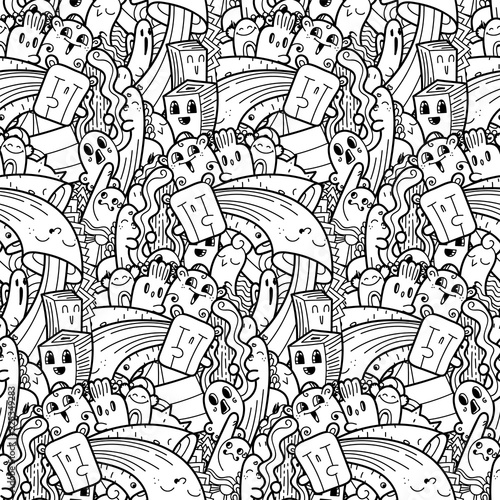 Funny doodle monsters seamless pattern for prints, designs and coloring books - 225349283