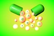 Leinwanddruck Bild - Open capsule with essential vitamin A, C, D, E, K pills on colorful background. Vitamin and mineral complex. Healthy life concept. Medical background. 3d illustration