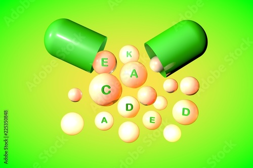 Leinwanddruck Bild Open capsule with essential vitamin A, C, D, E, K pills on colorful background. Vitamin and mineral complex. Healthy life concept. Medical background. 3d illustration