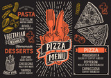Pizza menu food template for restaurant with doodle hand-drawn graphic. - 225351047