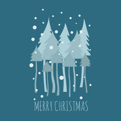 Flat style christmas holiday elements for greeting card, poster design