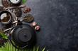 Various tea and teapot. Black, green and red tea