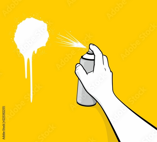 Man hand using white spray painting