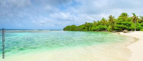 Beautiful sandy beach in uninhabited island - 225389450