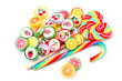 Different colorful lollipops candy isolated.