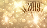 new year, 2019, clock, bokeh, card, sparkle, light, shiny, christmas, vector, poster, celebration, background, holiday, gold - 225393238