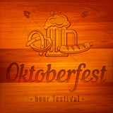 Oktoberfest banner with mug of craft beer, on wooden. Vector - 225395028