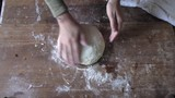 woman in his house Prepares Fresh Bread Cakes Knead Dough Balls Recipe - 225404818