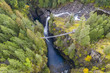 Aerial view of Elk Falls suspension bridge on Vancouver Island, Canada