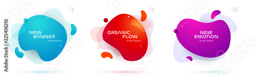 Set of liquid color abstract geometric shapes. Fluid gradient elements for minimal banner, logo, social post. Futuristic trendy dynamic elements. Abstract background. Eps10 vector.