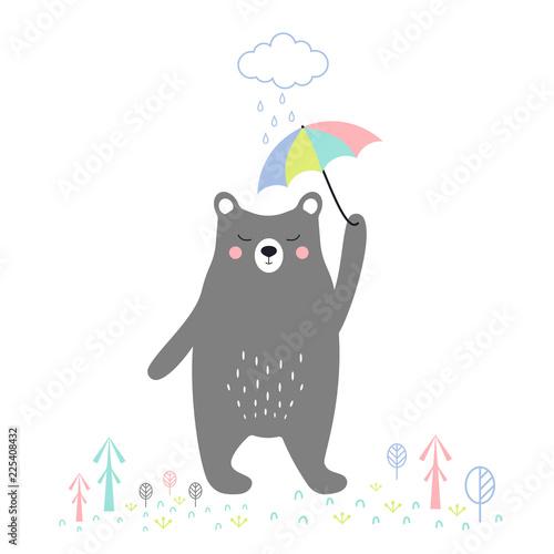 cute bear with umbrella