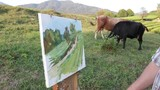 Artist painting an autumn rural landscape with cows. Men on the nature of the artist draws - 225409217