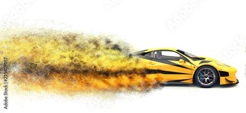 Jasny żółty szybki super samochód - efekt wybuchu cząstek