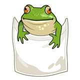 Frog looking out of t-shirt pocket funny humorous vector cartoon illustration. Nature, outdoors, wildlife, amphibian themed design element for clothes.