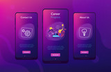 A man running up to the hand drawn stairs as a concept of coaching, business training, goal achievment, success, progress, carreer ladder, violet palette. Mobile UI UX app interface template. - 225434811
