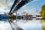 Bridge over Seattle river waterway park ,Washington, USA,