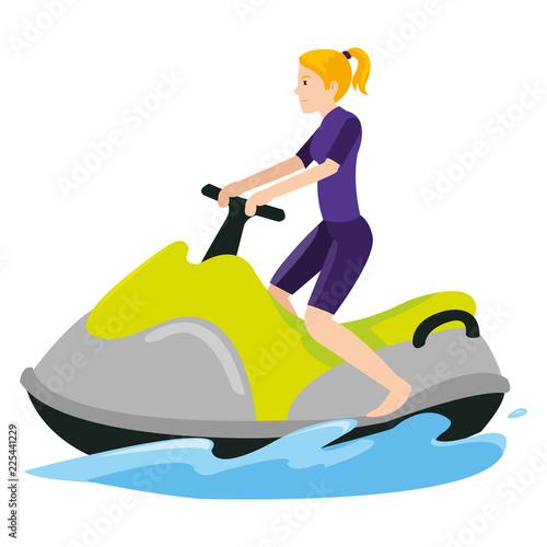 Sports women above boat in the ocean when summer season
