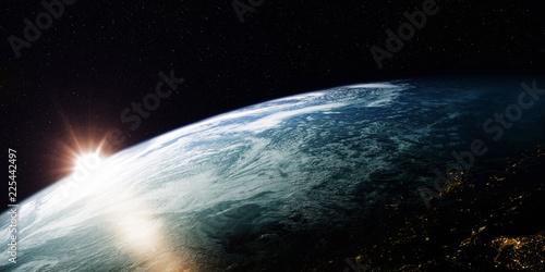 Widok Ziemi z kosmosu / 3D Rendering obracająca się planeta Ziemia ze słoneczną stroną i ciemną stroną ze światłami miast. Niektóre elementy obrazu dostarczone przez NASA