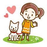 犬の散歩をする女の子 手描き風