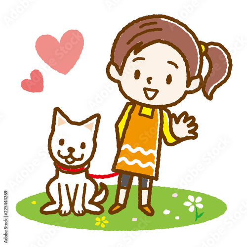 犬の散歩をする女の子 手描き風 - 225444269