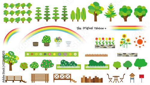 庭木と花のオブジェクト(ウッドフェンスとウッドデッキ)
