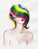 beautiful woman. fashion illustration. watercolor painting - 225448837